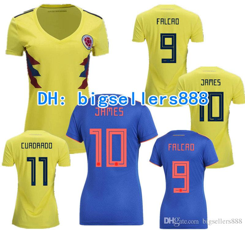 f9f146039 FALCAO JAMES 2018 World Cup Colombia Yellow Home Soccer Women Jersey ...