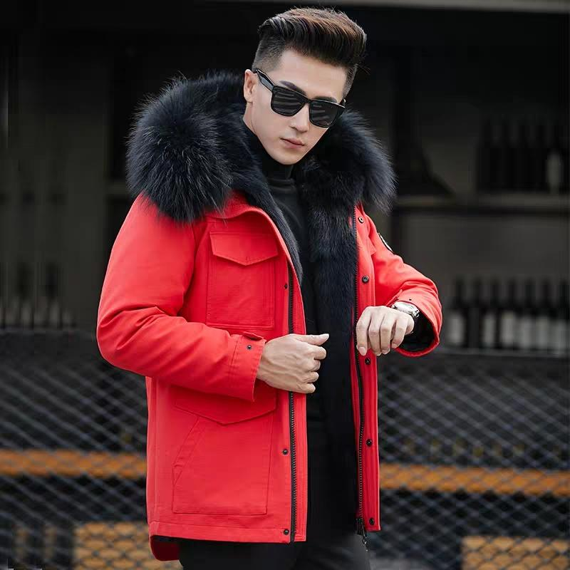 003891f1c621 2019 Wolf Fur Coat Men Winter Warm Fur Coat Hooded Long Style Jacket Thick  Real Natural Mens Winter Thermal Outerwear From Vikey08