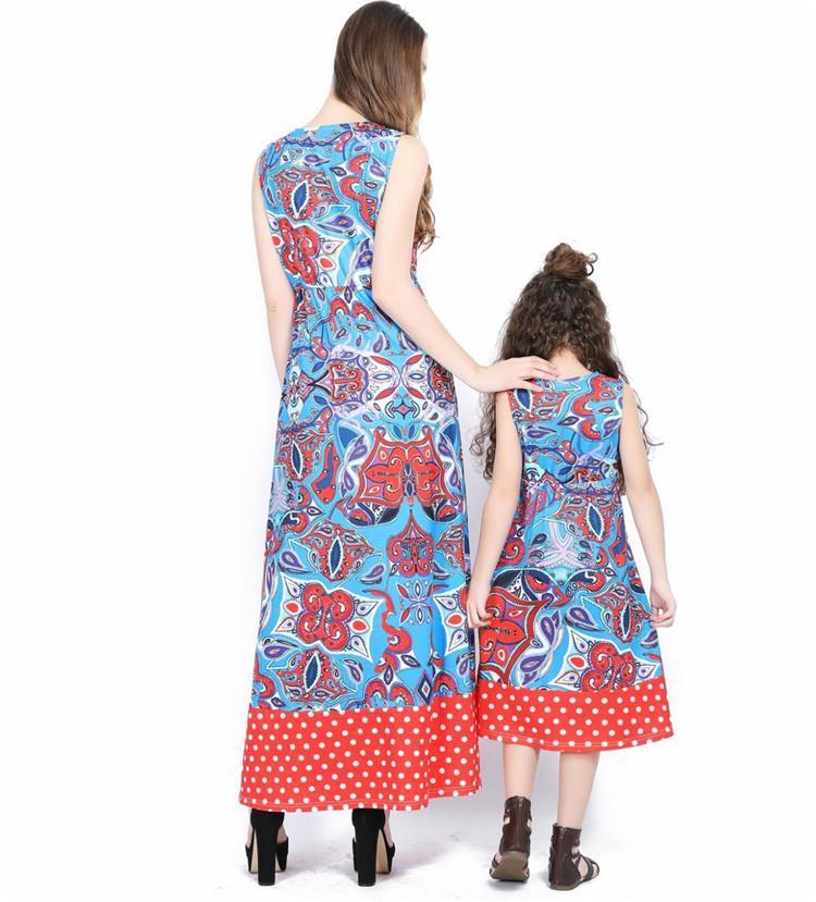 Мать дочь одежда семья матч лодыжки макси платье старинные мать дочь платье полька ФОТ мама и я одежда