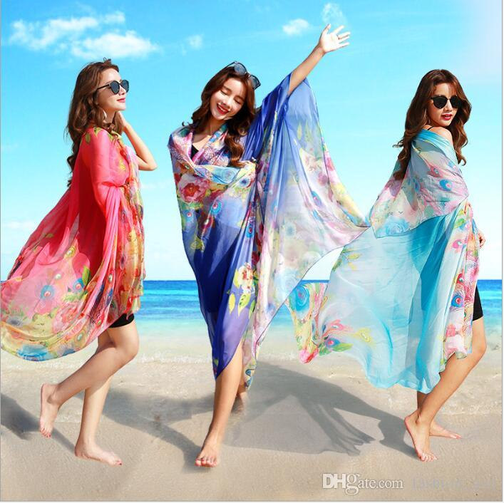 8ebd24c2fdb0a 2019 Bikini Cover Ups Women Sunbathing Shawl Sexy Swimwear Beachwear Summer  Dresses Sunscreen Print Poncho Fashion Wraps Sarong Scarves B3945 From ...