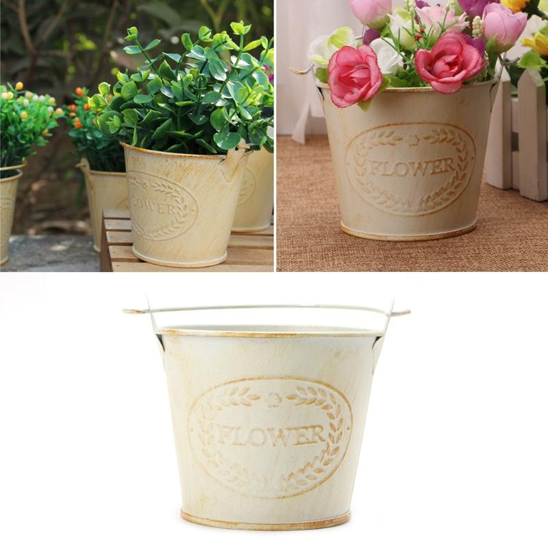 Hot Selling Vintage Galvanised Metal Iron Flower Shabby Vase Pot