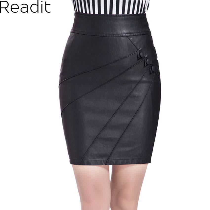 bddf3bee4b PU Leather Skirt Women Clothing Black Pencil Skirt High Waist Bandage Mini  Plus Size Skirts Big Size 3XL Falda Saia S004 Faldas Saia Bandage Skirts  Women ...