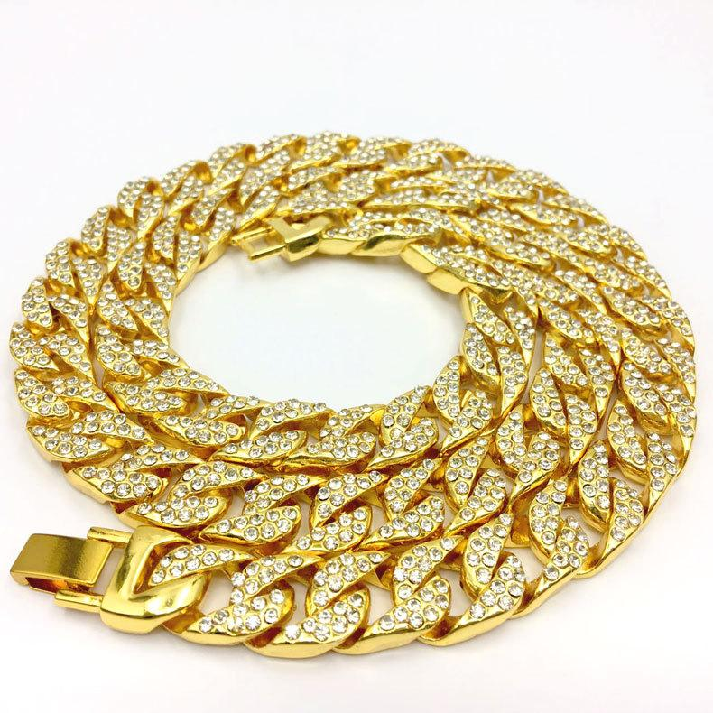 Gold Diamond Chain Men S Necklace High Quality All Drilling Iced Out CZ Cuban  Chain 18 K Yellow Gold Silver Plated CZ Polished UK 2019 From Jonely 990d9931969f