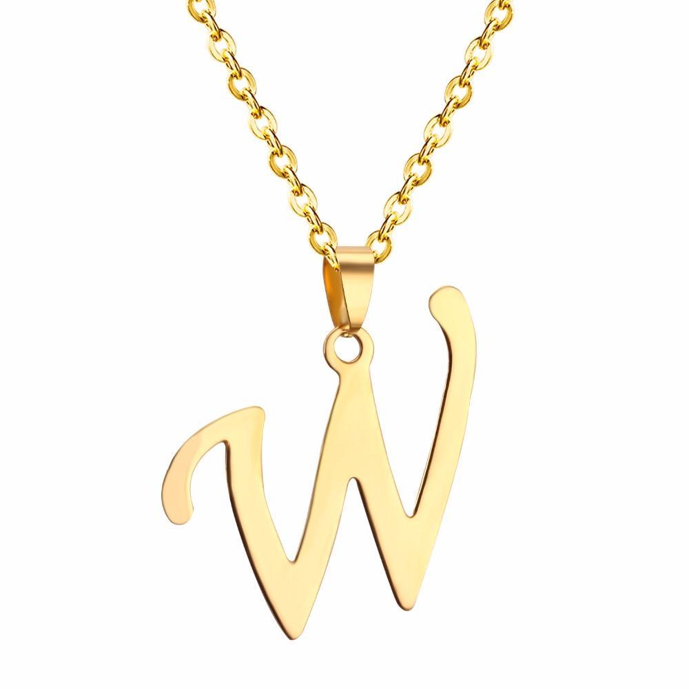 LUXUSTEEL Yeni Varış Trendy Alfabe Sermaye R Mektup Kolye Kolye Kadınlar Için Altın Rengi Mektup Kolye Zinciri Ile