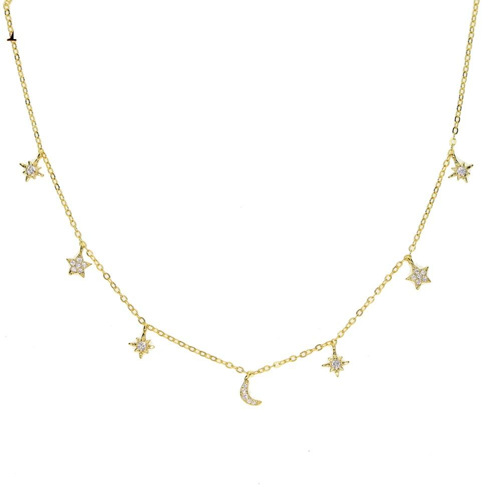 5f245a7b51a 100% 925 sterling silver charm necklace chokers moon star sun tiny minimal  cute charm lovely silver girl stunning jewelry gift