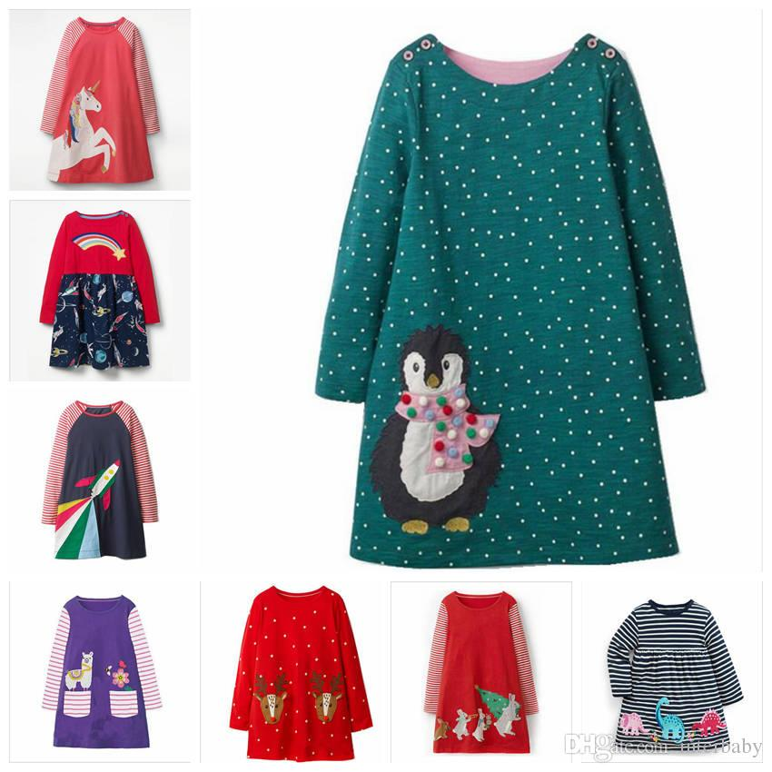 476f9867ef9 Unicorn Girls Dresses Christmas Animal Striped Dress Infant Long Sleeved  Top T Shirt Kids Winter Clothes Designer ZYL7 6 UK 2019 From Interbaby