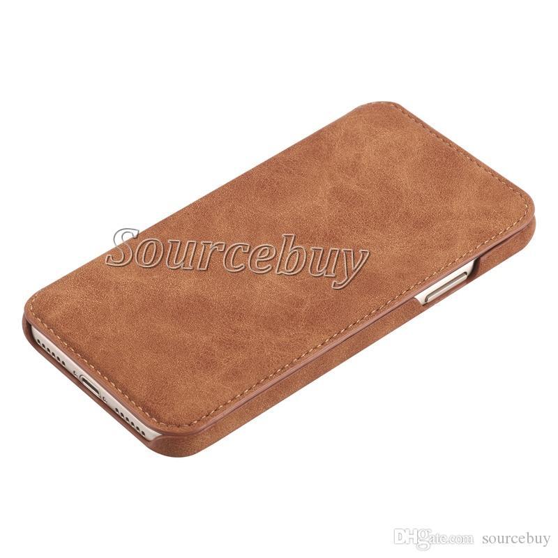 Qualitätsmappen-lederner Schlag-Fall für iPhone X PU-Abdeckungs-einfache Art- und Weisekarten-Taschen-Handy-Fälle für Apple iphone X 10