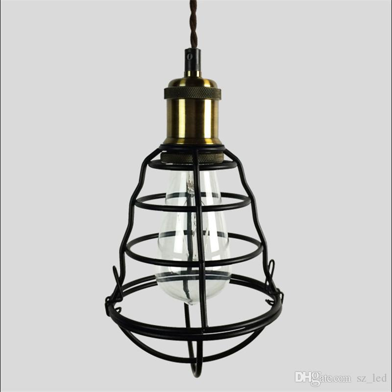 7847a960d69 Vintage E27 Lamp Cafe Loft Bar Pendant Lights Shade Home Decor Iron Cage  Lampshade Restaurant Retro Industrial Lighting Hanging Lamp Ceiling Lights  Modern ...