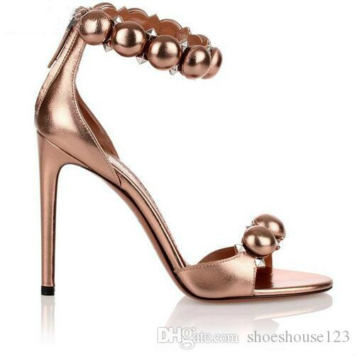 974fc1dcf5e0 Rose Gold Leather Stiletto Heels Women Shoes Open Toe High Heels Women  Sandals Studded Rivet Ankle Buckle Women Pumps Sandals For Girls Chaco  Sandals From ...