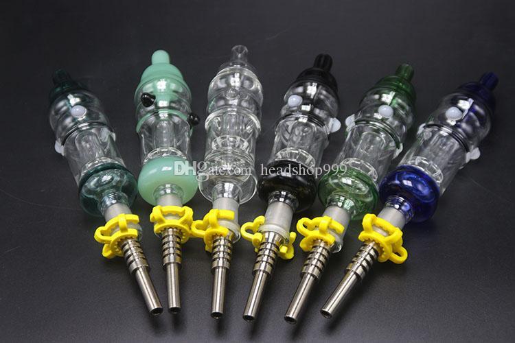 A tubulação de 6 Nector da cor mais com o prego Titanium do quartzo do prego do grampo de 14mm para a água de vidro Bong para Somking
