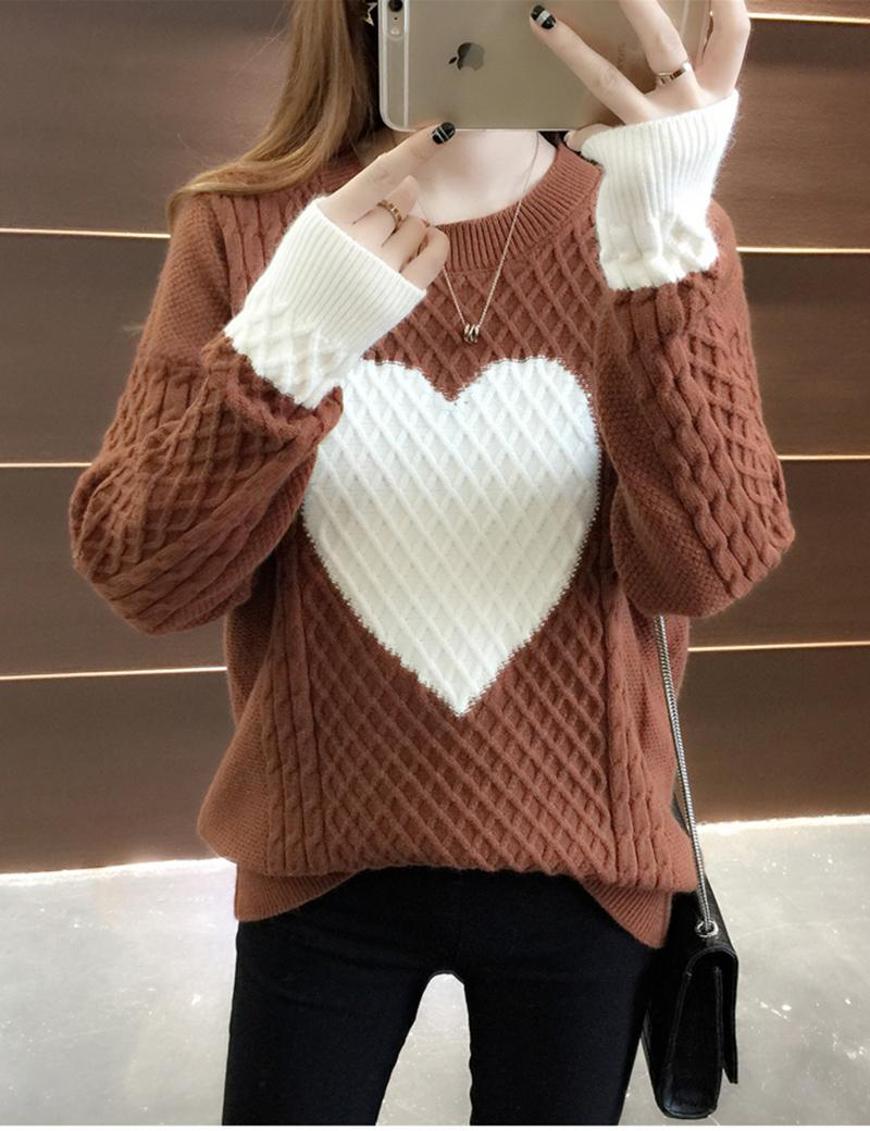 dc0332943ac 2019 2017 Spring And Autumn New Pullovers Sweater Women Loose Korean Knit Sweater  Long Sleeved Trend Of Love Graphics From Yakima