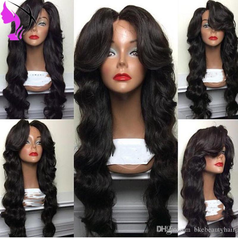 Free part body wave long soft heat resistant fiber 1b# black color glueless dark brown lace synthetic lace front wig for black women