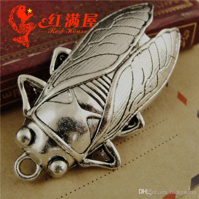 A4071 32 * 62 MM Aleación de Zinc de bronce antiguo Gran colgante de joyería al por mayor hecho a mano encantos de la cigarra de DIY, vintage cuelga el encanto para la pulsera