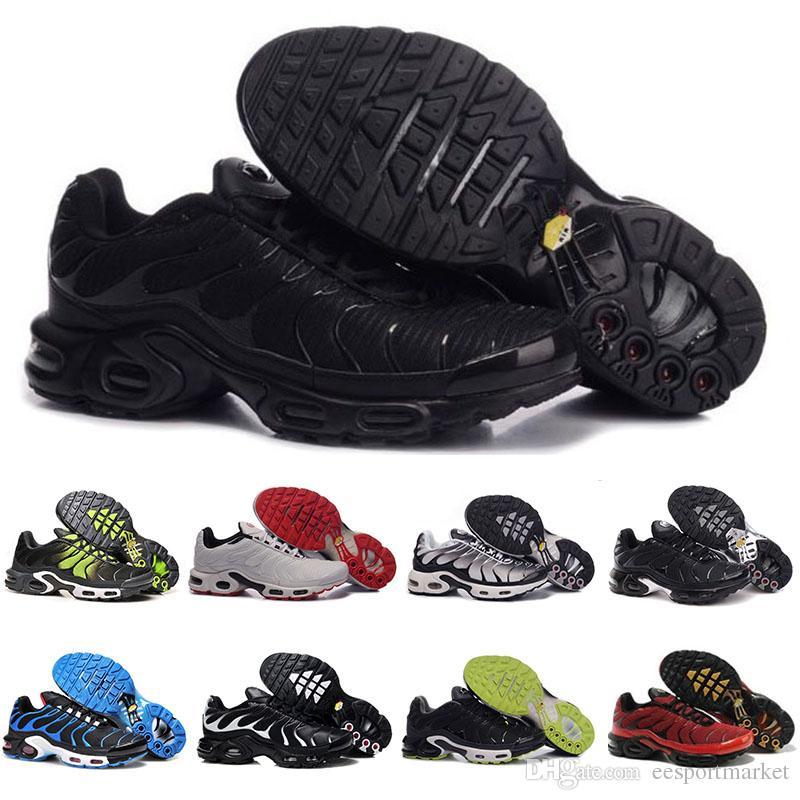 b08dfaeb7db Compre Nike TN Plus Air Max AirMax Descuento Brand Sports Nike Air Max Tn  Running Shoes Nuevo Cushion TN Hombres Negro Blanco Rojo Mens Runner  Sneakers ...