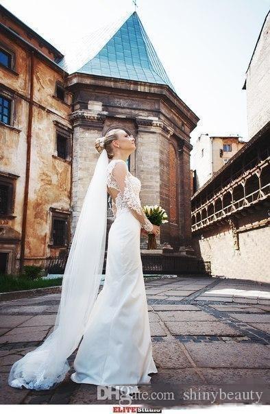 Jewel Длинные рукава развертки Поезд Кружева Аппликации Sash Простые Классические свадебные платья Торжественная одежда Свадебное платье New
