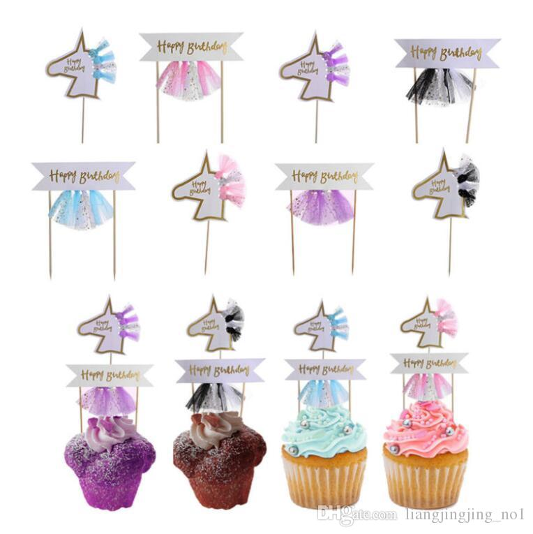 Unicorn Cake Topper Wedding Tulle Decor Kids Birthday Baby Shower Unicorn Party Cupcake Picks Birthday Party Decoration KKA4501