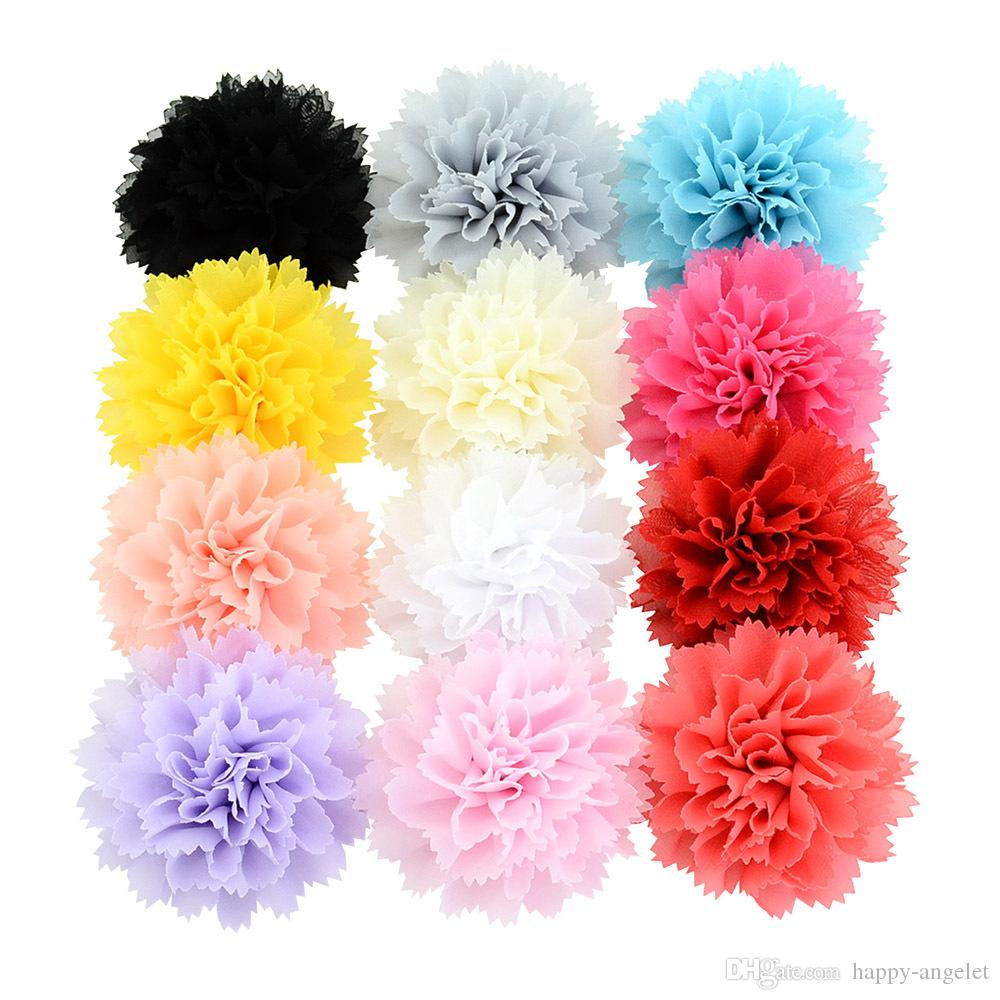 12pcs 3 inch Chiffon Lace Flower With Hair Clips Children's Floral Hair Clips 3d Flower Lace Hair Accessories HD742