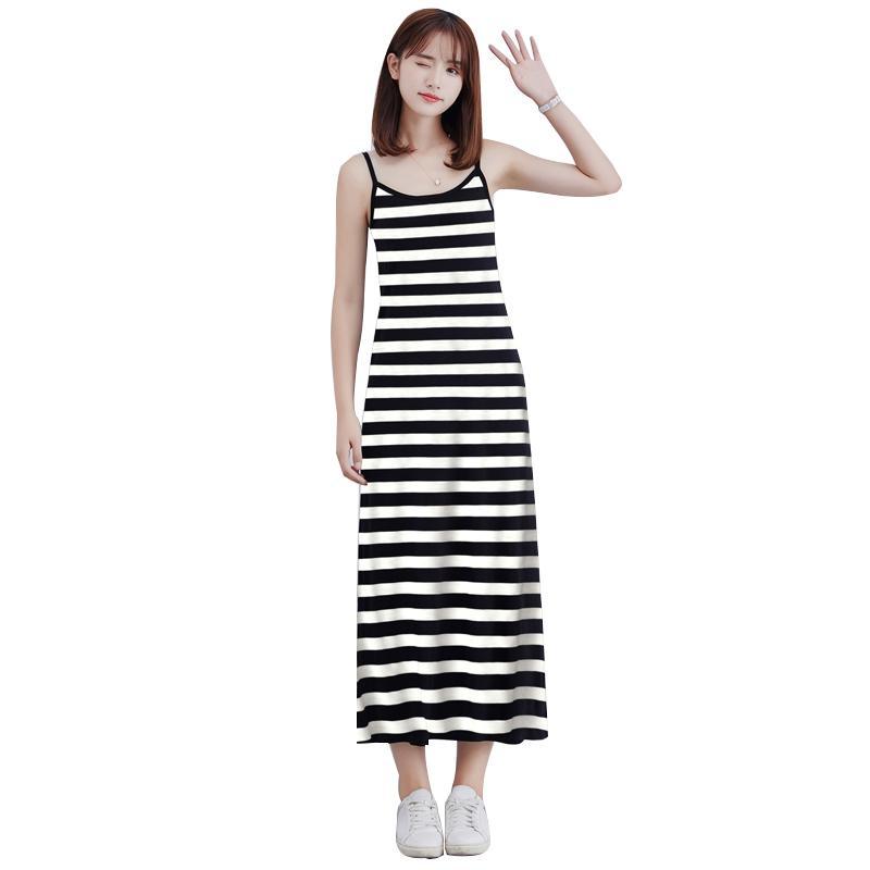 07b08f1559 Compre 2019 Moda De Verano Maxi Vestido Largo Mujer Rayas Modal Slip Dress  Correas Espaguetis Sin Mangas Suave Elástico Casual Cami Vestido A  26.09  Del ...