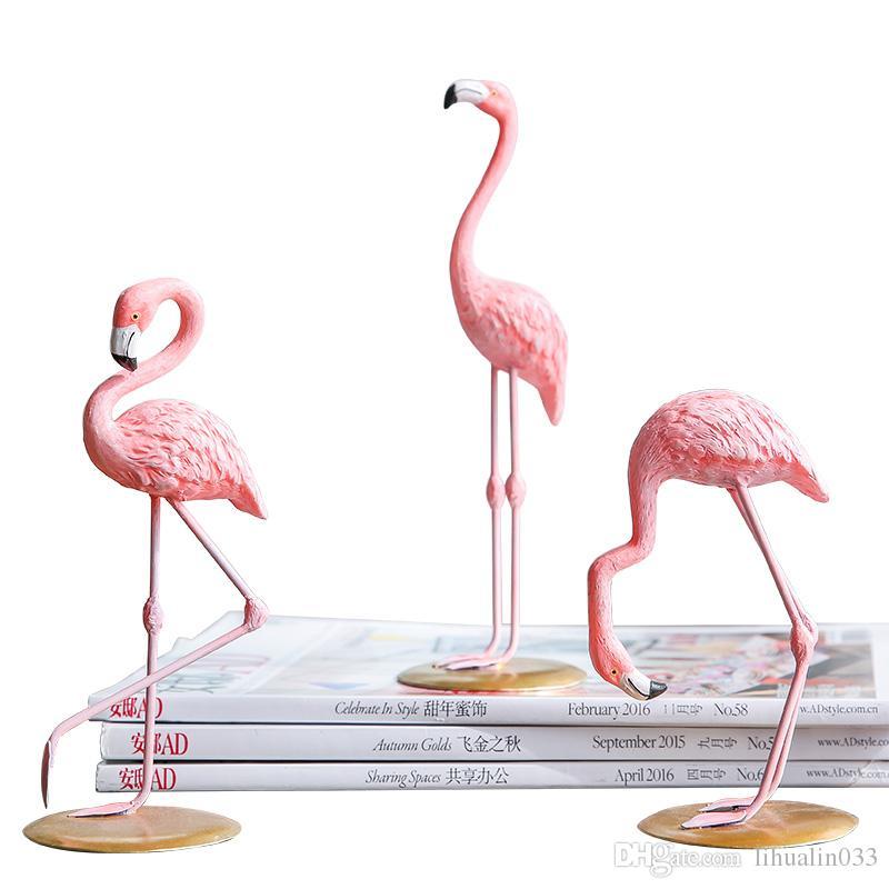 1 pieza de resina Flamenco rosado figura de chica Decoración del ornamento Animal 3 Pattens envío