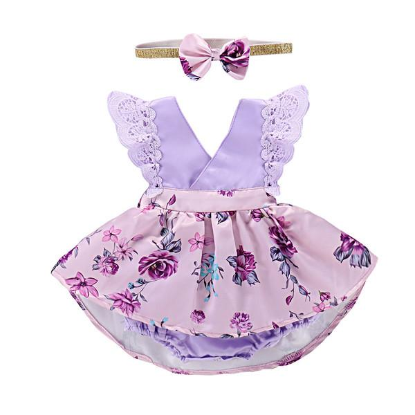 Mikrdoo Toddler Baby Girl Clothes Floral Dress Lace Ruffle Sleeve Romper With Headband Kids Irregular Clothing Outfit