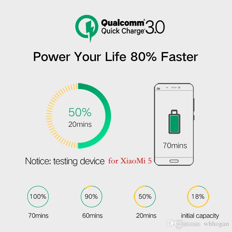 Carga de pared rápida QC 3.0 Cargador rápido Adaptador de cargador de pared USB de 3 puertos OEM Enchufe de EU / US / UK para Smartphone Android y iOS Samsung S8