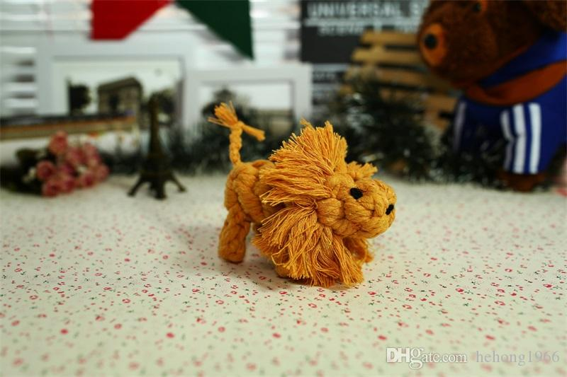 2018 Fashion Pet Chew Molar Toy Cute Small Lion Cotton Rope Knitted Doll Dog Teether Toys Practical Dogs Supplies 5 8yf X