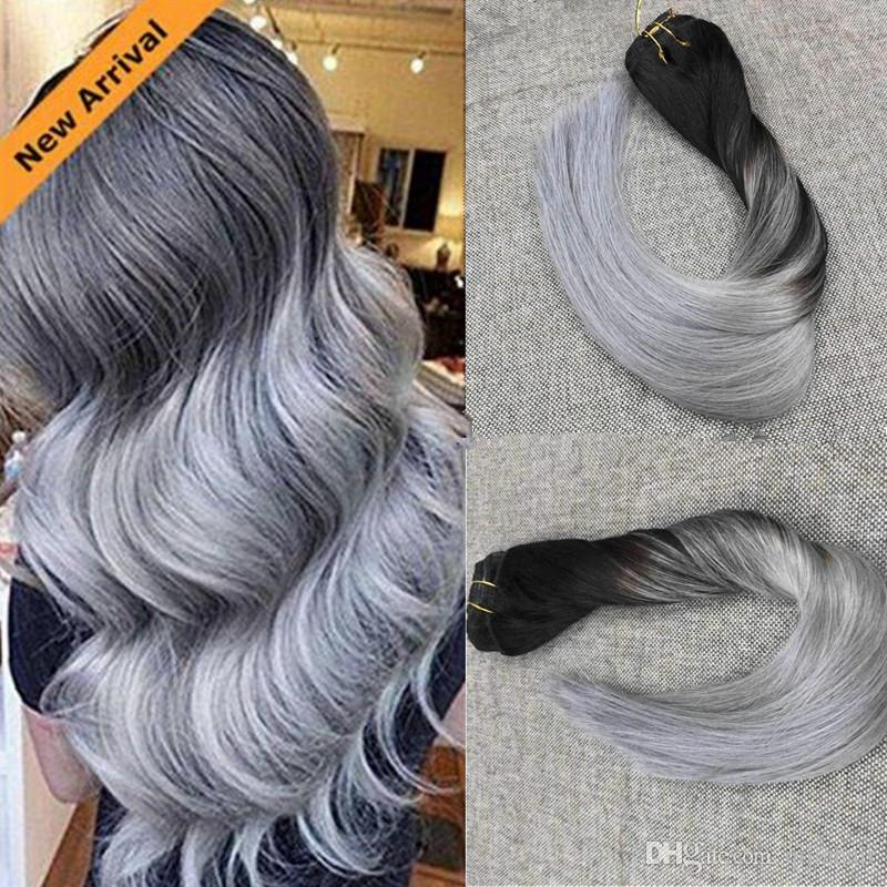 18 20 22 24 Thick Deluxe 1bsilver Balayage Ombre Clip In Remy Human