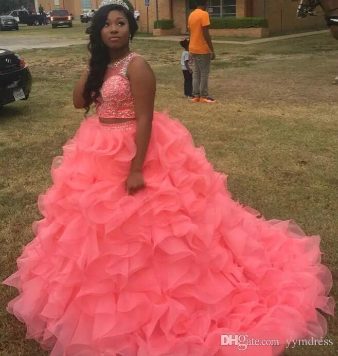 Watermelon Quinceanera Dresses 2019 Modest Masquerade Two Pieces Ball Gown Prom Dress Sweet 16 Girls Lace Up Back Ruffles Full Length