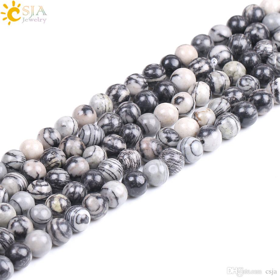CSJA Wholesale 4mm Zebra Natural Stone Black Strip Stone Beads for Diy Bracelet Necklace Jewelry Making Vintage Women Men Loose Bead F230 A