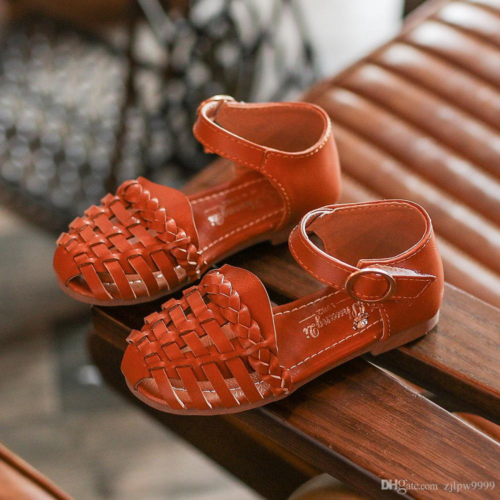 469b5c52519a Leather Sandals Girls 2018 100% Soft Leather in Summer the New Boys ...