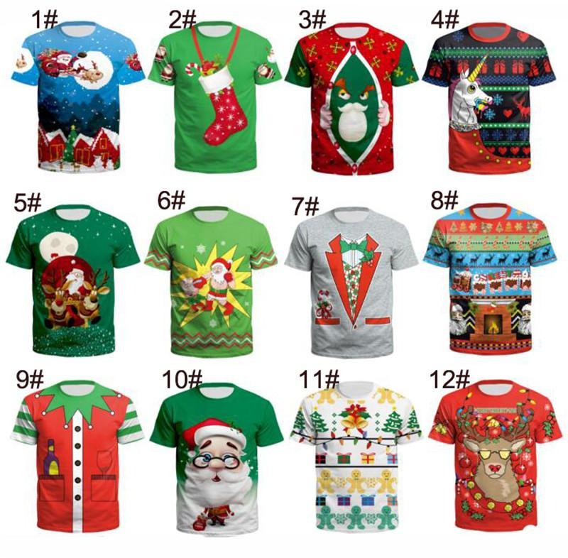 259153f52bc2a S-3XL Unisex Christmas T-Shirts for Teenager Boys Girls Santa Claus Print  Men Women Xmas Short Sleeve O neck Tees Tops New Arrive Stock