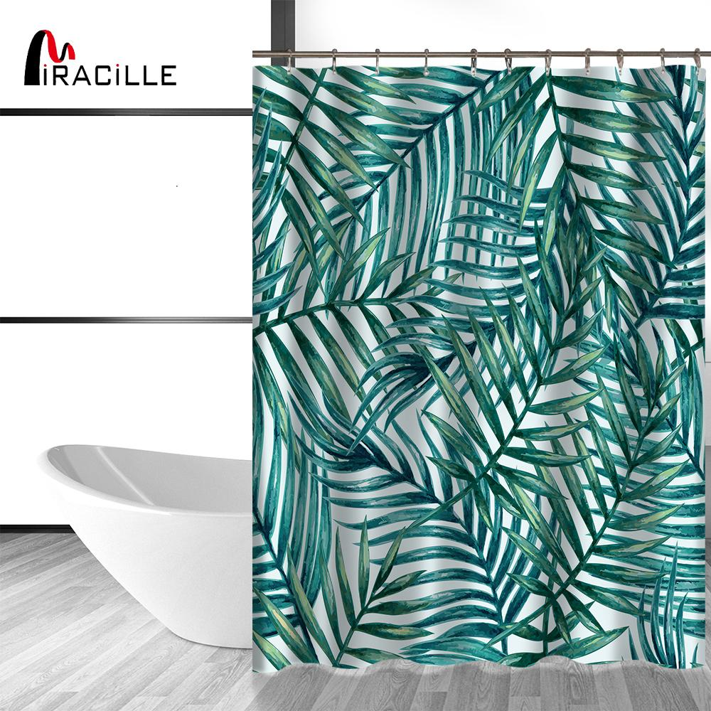 2019 Miracille Waterproof Green Tropical Leaves Pattern Shower Curtain For Home Decor Plant Living Bath Curtains With 12 Hooks From Glenae 2217