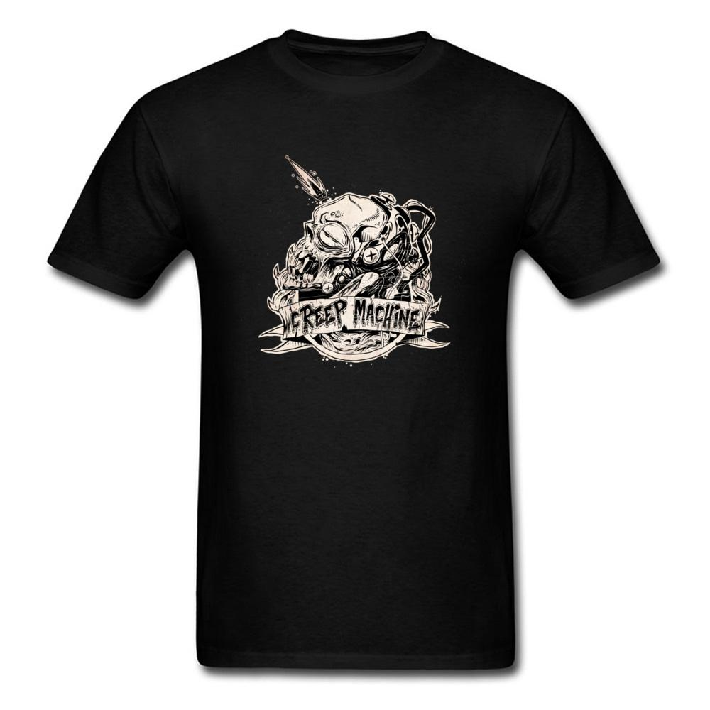 T Shirt Noir Shirts Crâne Hommes Machine Acheter Creep 4xFHBqw