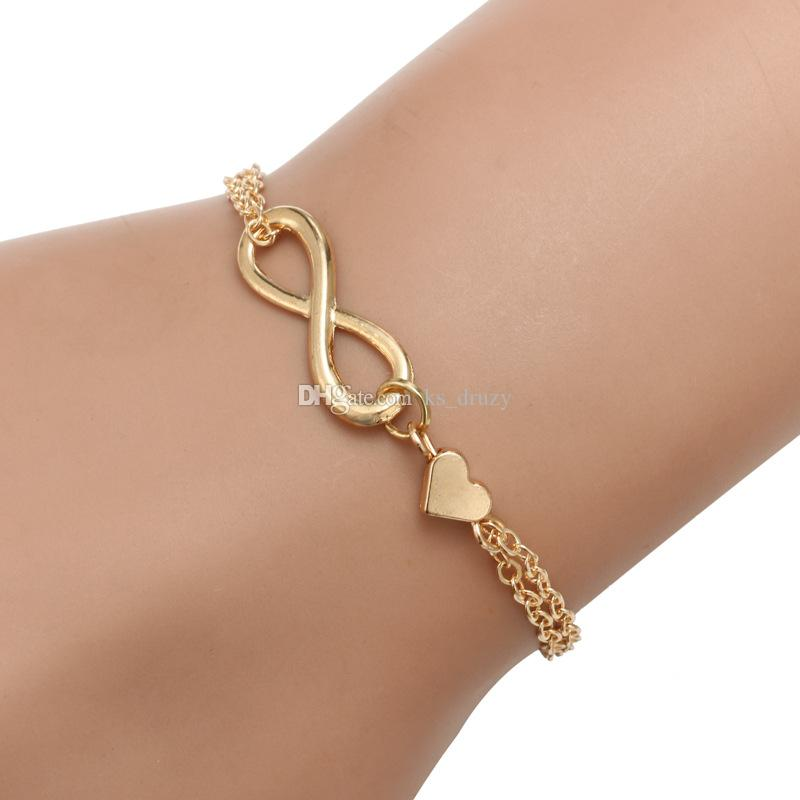 Fashion Silver Gold Plated Infinity Charms Bracelets for Women Lover Heart Cheap Jewelry Party Good Gift