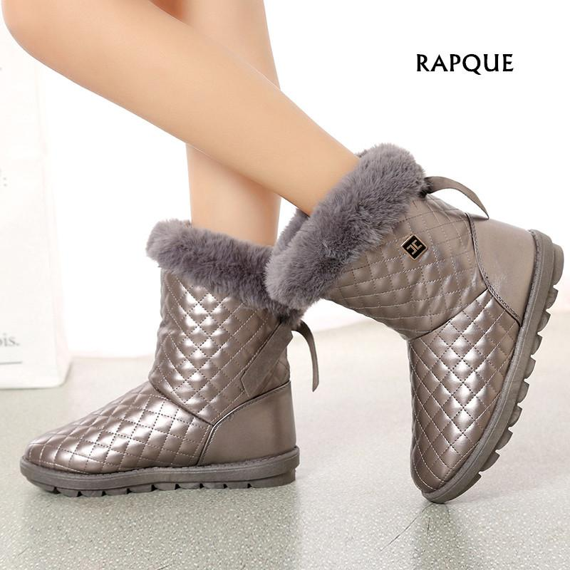 New Winter Women Snow Boots Keep Warm Shoes Platform Ladies Fur Suede Flat  Girl Boot Mid Calf Boots Plaid Female Fashion Shoes Wedge Booties Boots  Sale From ... 77b10a2e709e
