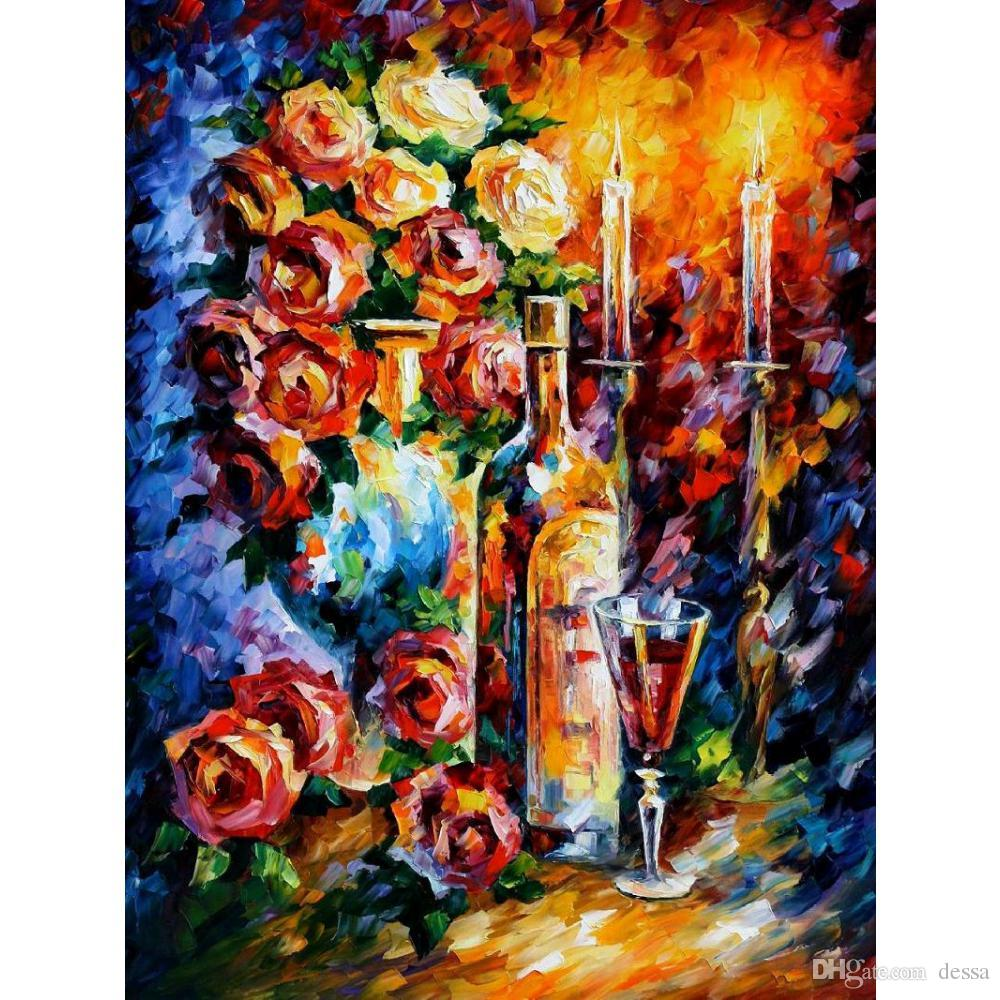 2019 hand painted leonid afremov famous oil paintings red wine
