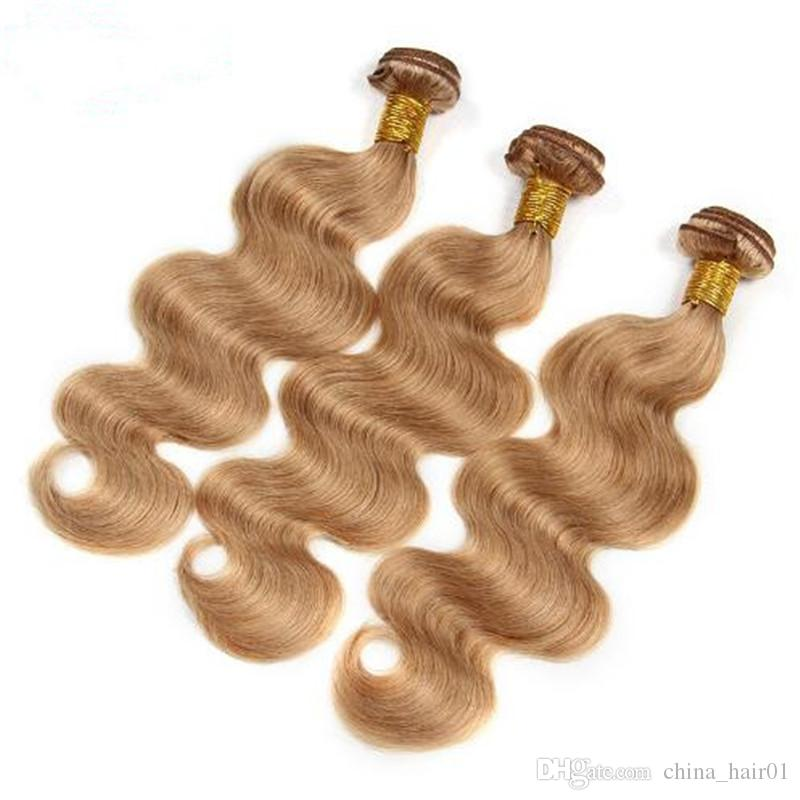 #27 Honey Blonde Human Hair 3Bundles with Top Closure Virgin Brazilian Light Brown Body Wave Human Hair Weaves With 4x4 Lace Closure