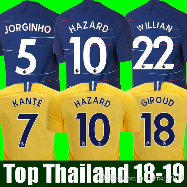 Compre Top Tailândia HAZARD JORGINHO Camisa De Futebol Chelsea Soccer  Jersey 2019 GIROUD KANTE Camiseta De Futebol Kit Camisa BAKAYOKO RUDIGER  WILLIAN 18 19 ... 308b4edf38c6c