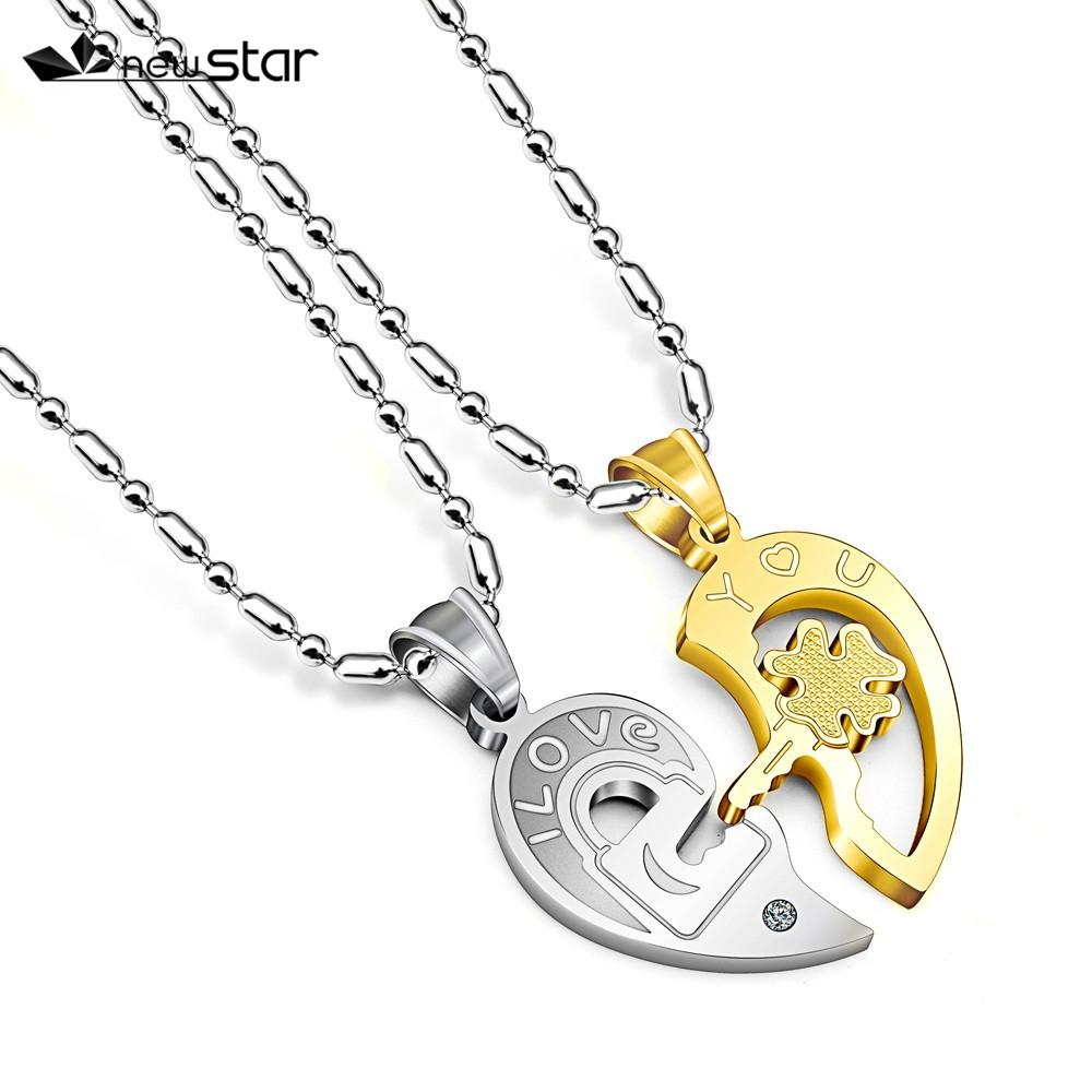 6b2c71ef23 Wholesale Love You Romantic Stainless Steel Half Heart Couple Pendants  Necklaces Key Lock Promise Necklaces Jewelry Gift White Gold Necklace  Diamond Pendant ...