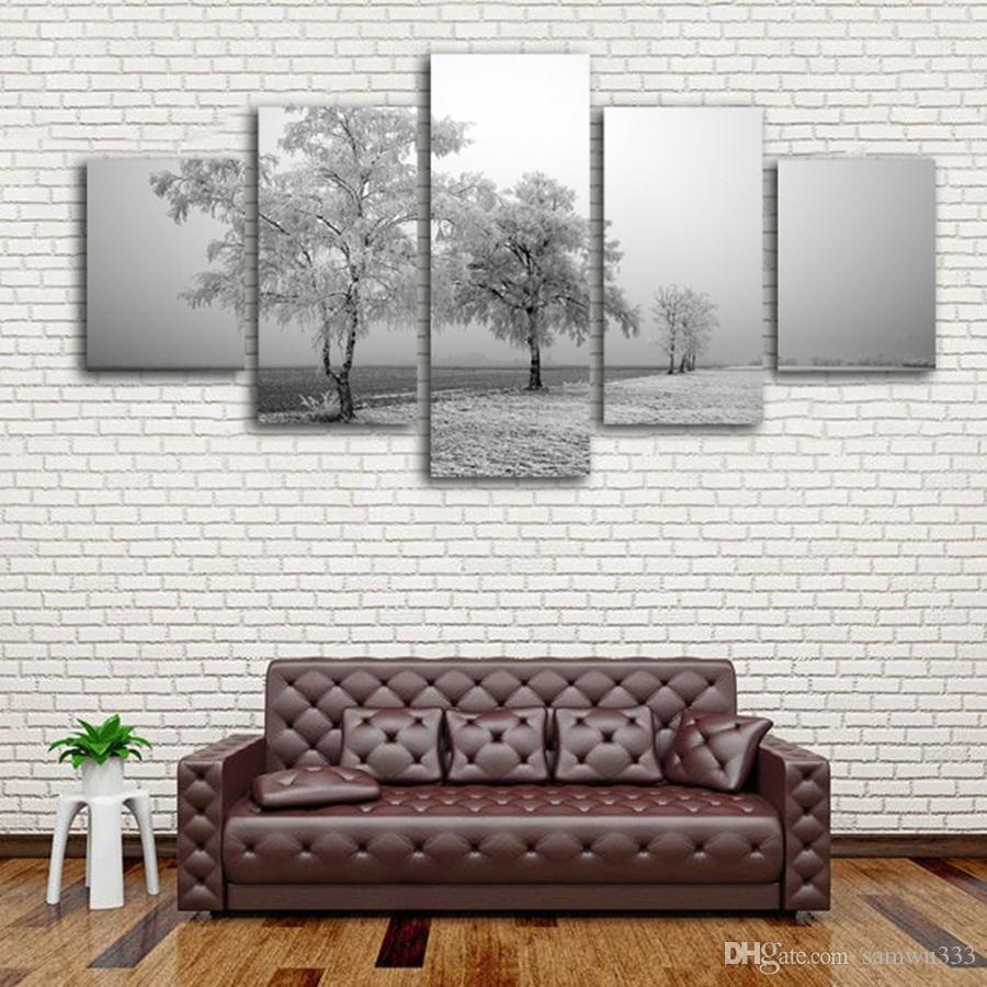 Satın Al çerçevesiz 5 Panelleri çerçeveli Kış Dondurulmuş Ağaç