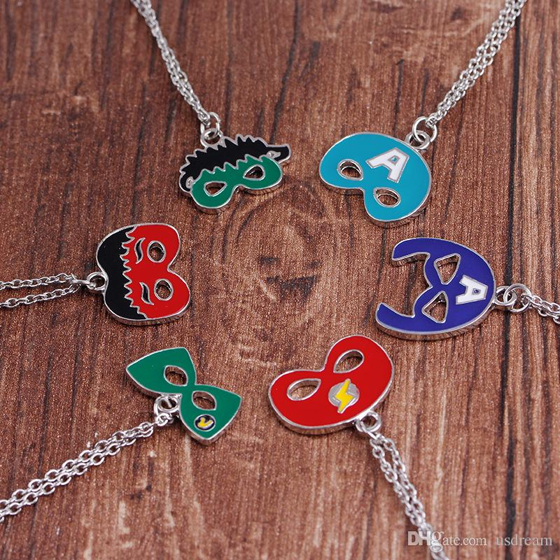 Superhero Mask Necklace Wonder Woman Superman Flash Captain America Thor Hulk Mask Face Pendants Necklace Fashion Jewelry DROP SHIP 162523