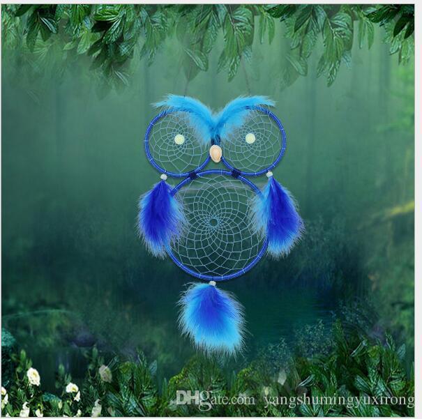Luz da noite Frisada Coruja Dreamcatcher Carrilhão de Vento Circular Com Penas Penduradas Decoração Ornamento Artesanato Presente Pássaro Bonito Sonho Apanhador