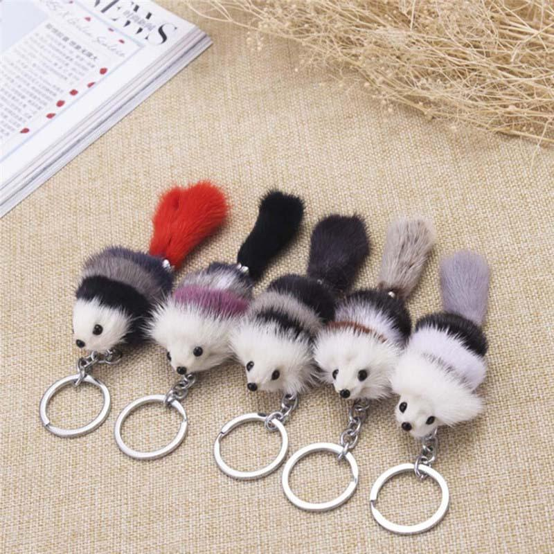 Cute Fluffy Crown Bow-knot Fox Ball Key Chain Rings Pompom Artificial Fox Fur Charm Keychain Car Bag Key Ring Women Jewelry