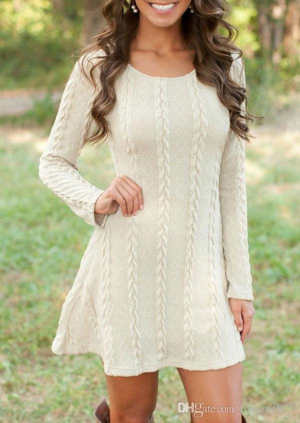 2828238d2fe 2019 Women Cable Sweater Dress Casual Plus Size Pullover Long Sleeve Knitted  Loose Short Dresses 5xl In Fall Winter From Tinaguo977