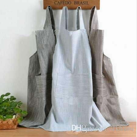 9120c7e0a9 Women Bib Aprons Cotton Linen Solid Sleeveless Pinafore Dress Home Florist  Apron Adult Cooking Cref Clothes LNY9220 Apron Meaning Cooking Apron From  Afkhami ...