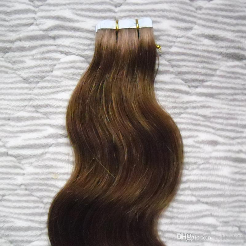 Farbe # 4 Dunkelbraun pro Paket Pu-Band in 100% Remy Menschenhaar-Verlängerungen Haar-Klebeband 100g Körperwelle Band in Menschenhaar-Erweiterungen