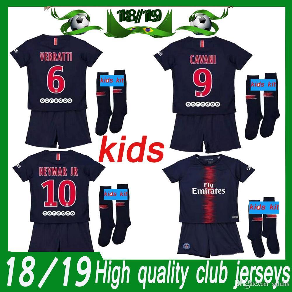 7e05e497b Paris Kids Kit 2018 19 Psg HOME Royalblue Kit Soccer Jerseys MBAPPE RABIOT Children  KitS SOCCER JERSEY+PANTS+SOCKS UK 2019 From Salahs