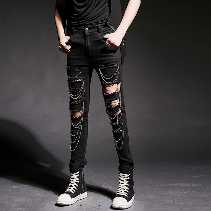 ea5722ad56 NEW High Street Cool Men Hole Chain Jeans Male Fashion Casual Slim Fit  Denim Pants Rock Punk Jeans Trouser Costume