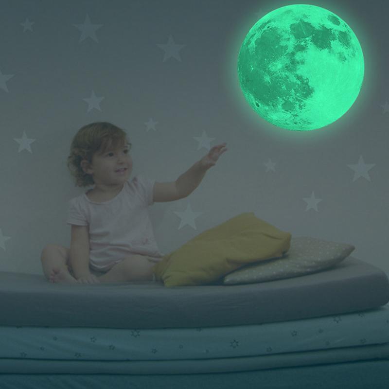 3D стены стикеры полная Луна Свет Свет светящиеся ПВХ стены искусства наклейки спальня свечение съемные украшения клей стены Паперсы 887070