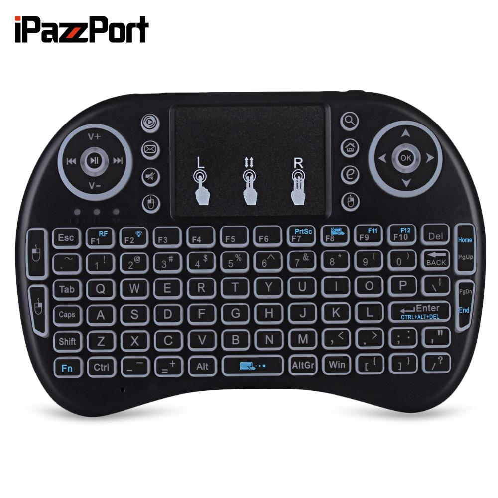 dfa2cdd8a0d IPazzPort I8 Multifunction Portable 2.4GHz Wireless Keyboard Mini QWERTY  Backlit Touchpad Mouse For Smart Phone PC Tablet TV Box Touch Sensitive  Keyboard ...